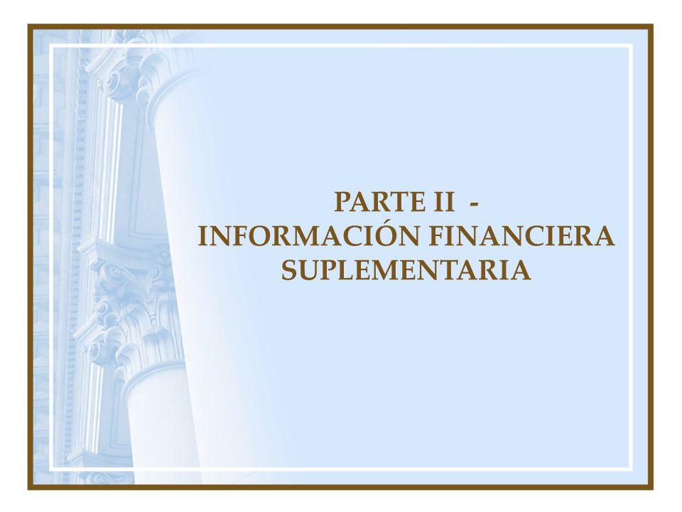 PARTE II - INFORMACIÓN FINANCIERA SUPLEMENTARIA