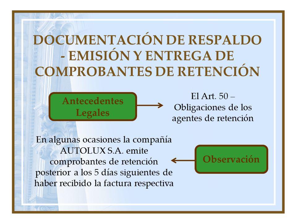 DOCUMENTACIÓN DE RESPALDO - EMISIÓN Y ENTREGA DE COMPROBANTES DE RETENCIÓN Antecedentes Legales El Art. 50 – Obligaciones de los agentes de retención