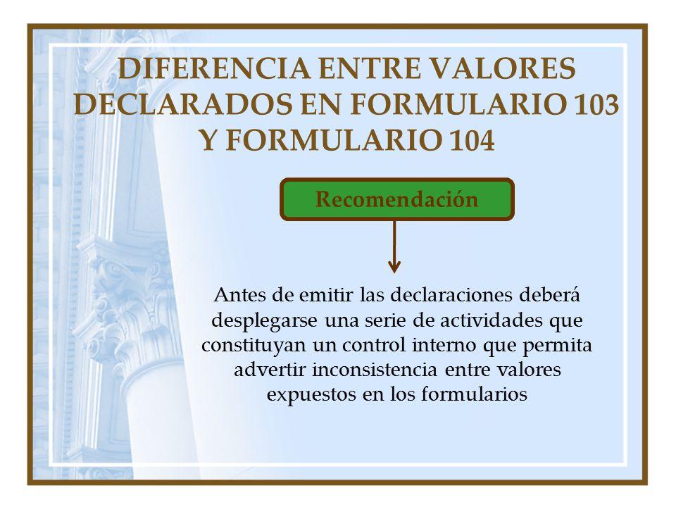 Recomendación Antes de emitir las declaraciones deberá desplegarse una serie de actividades que constituyan un control interno que permita advertir in