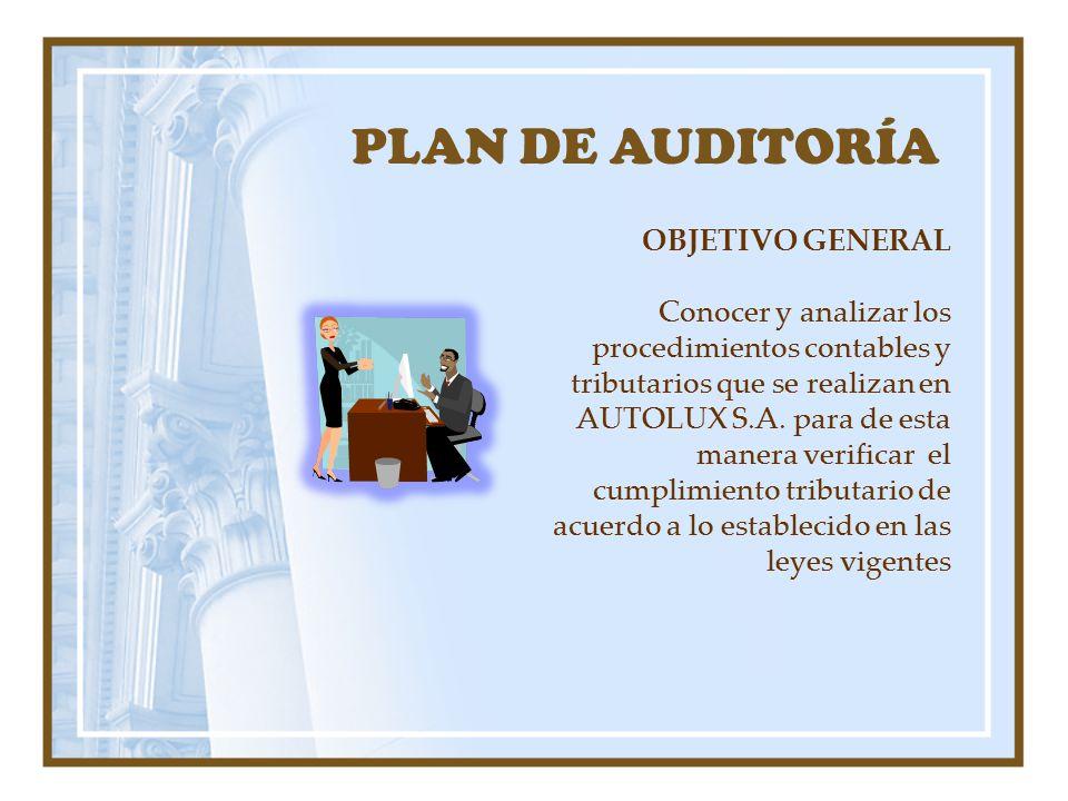 PLAN DE AUDITORÍA OBJETIVO GENERAL Conocer y analizar los procedimientos contables y tributarios que se realizan en AUTOLUX S.A. para de esta manera v