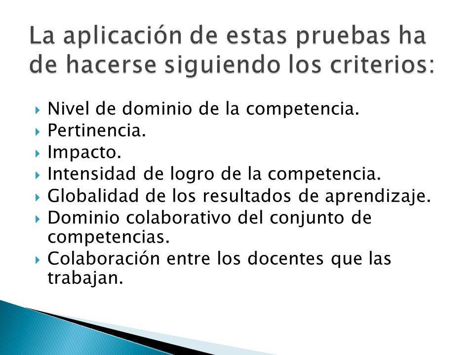 Nivel de dominio de la competencia. Pertinencia. Impacto. Intensidad de logro de la competencia. Globalidad de los resultados de aprendizaje. Dominio