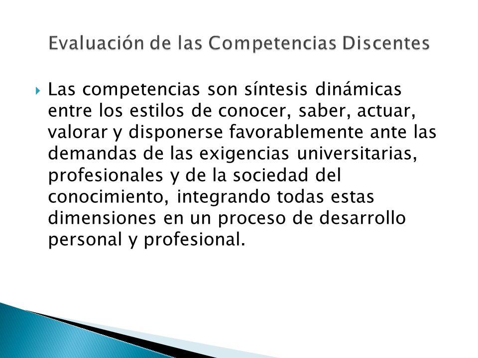 Las competencias son síntesis dinámicas entre los estilos de conocer, saber, actuar, valorar y disponerse favorablemente ante las demandas de las exig