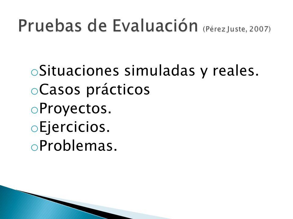 o Situaciones simuladas y reales. o Casos prácticos o Proyectos. o Ejercicios. o Problemas.