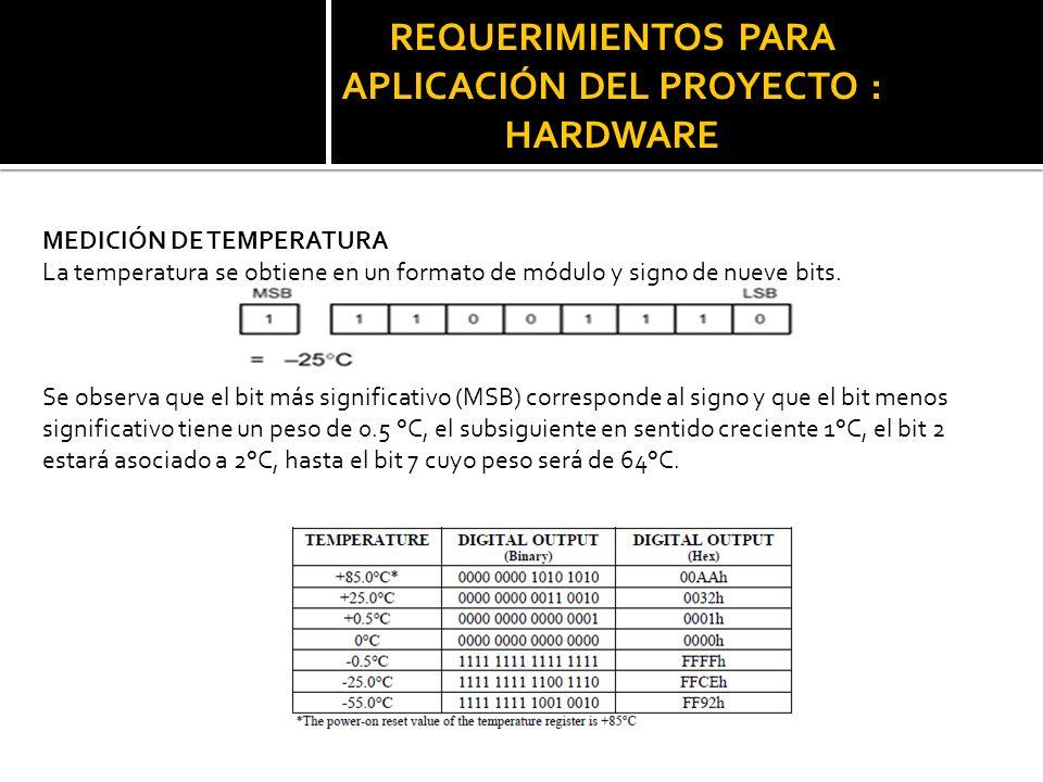 REQUERIMIENTOS PARA APLICACIÓN DEL PROYECTO : HARDWARE MEDICIÓN DE TEMPERATURA La temperatura se obtiene en un formato de módulo y signo de nueve bits