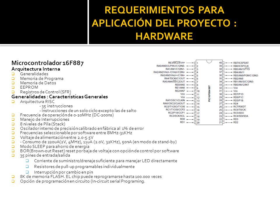 REQUERIMIENTOS PARA APLICACIÓN DEL PROYECTO : HARDWARE Microcontrolador 16F887 Arquitectura Interna Generalidades Memoria de Programa Memoria de Datos