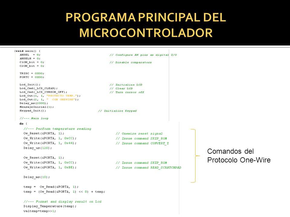 Comandos del Protocolo One-Wire