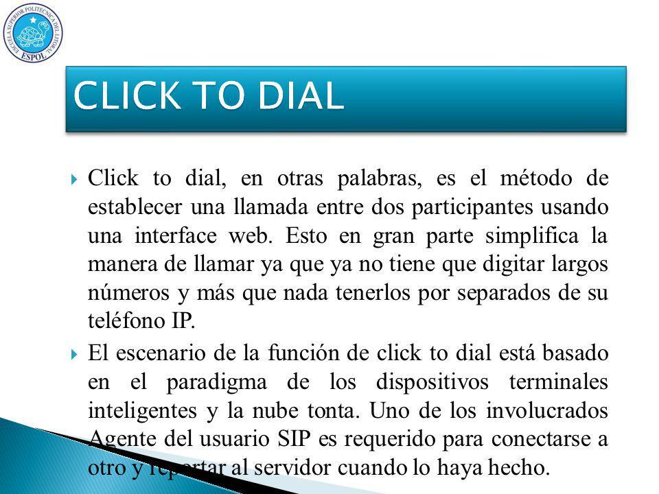 Click to dial, en otras palabras, es el método de establecer una llamada entre dos participantes usando una interface web.