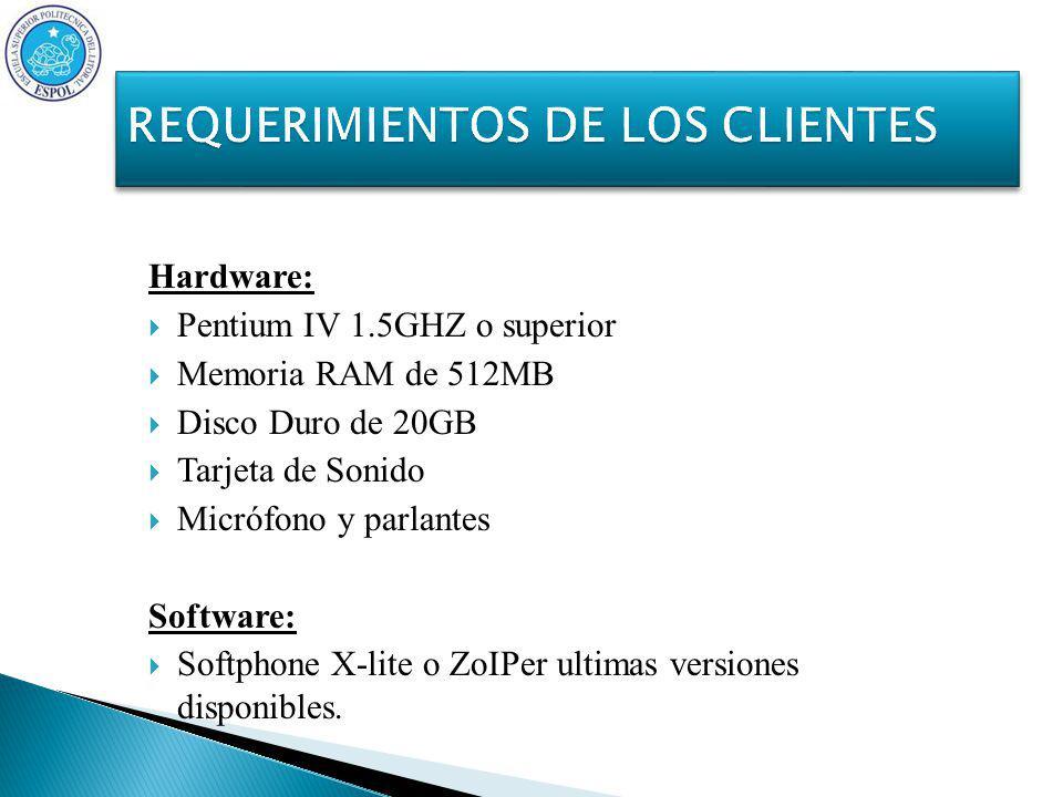 Hardware: Pentium IV 1.5GHZ o superior Memoria RAM de 512MB Disco Duro de 20GB Tarjeta de Sonido Micrófono y parlantes Software: Softphone X-lite o ZoIPer ultimas versiones disponibles.