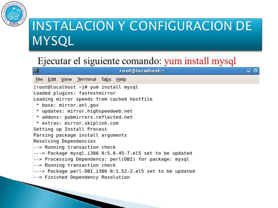 Ejecutar el siguiente comando: yum install mysql