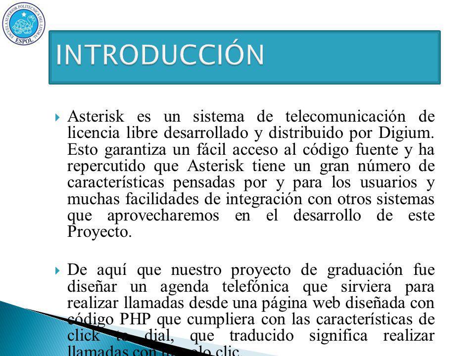 Asterisk es un sistema de telecomunicación de licencia libre desarrollado y distribuido por Digium.