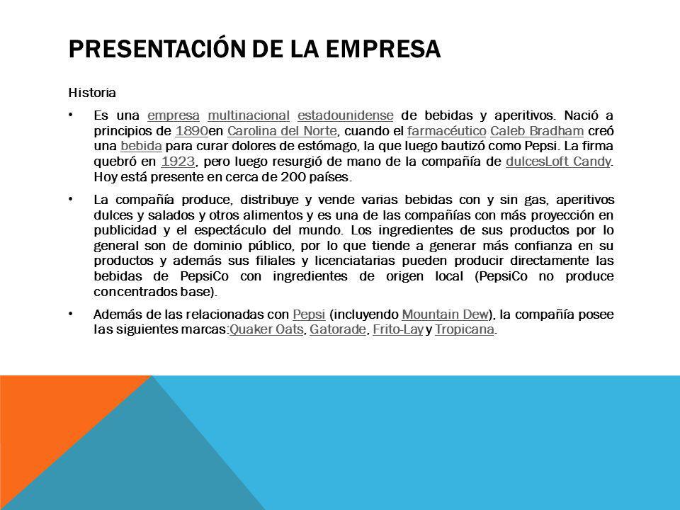 PRESENTACIÓN DE LA EMPRESA Historia Es una empresa multinacional estadounidense de bebidas y aperitivos.
