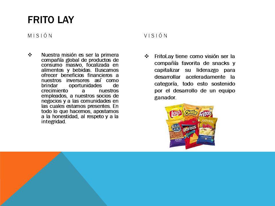 FRITO LAY MISIÓN Nuestra misión es ser la primera compañía global de productos de consumo masivo, focalizada en alimentos y bebidas.
