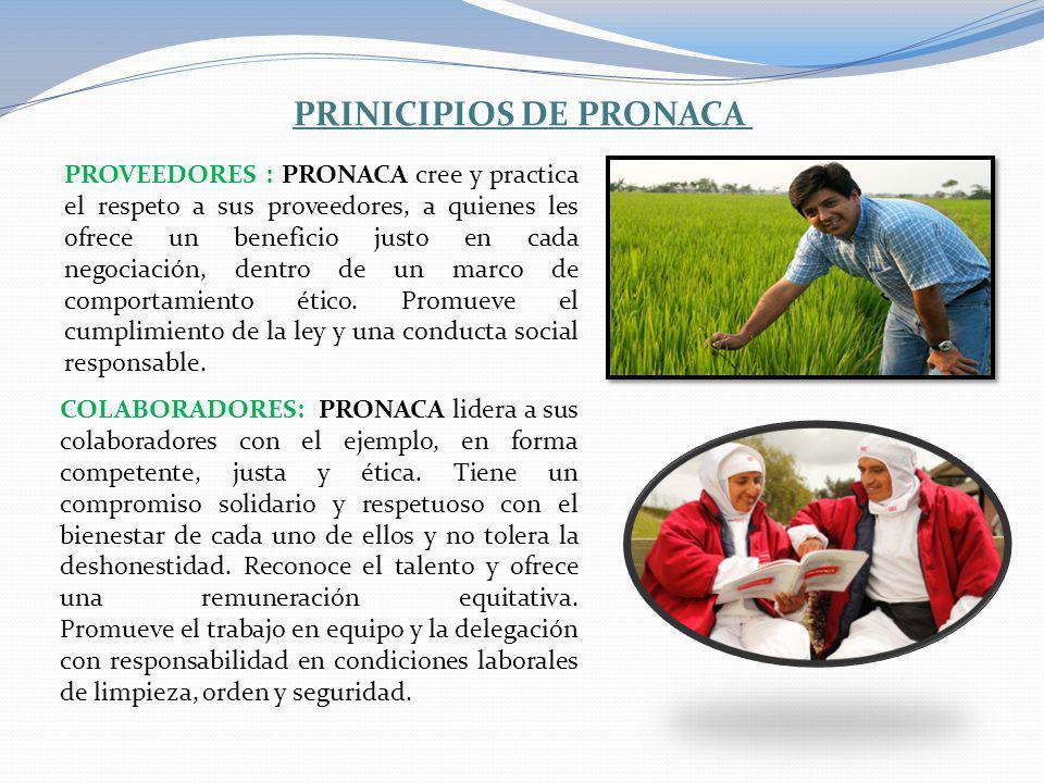 PRINICIPIOS DE PRONACA PROVEEDORES : PRONACA cree y practica el respeto a sus proveedores, a quienes les ofrece un beneficio justo en cada negociación