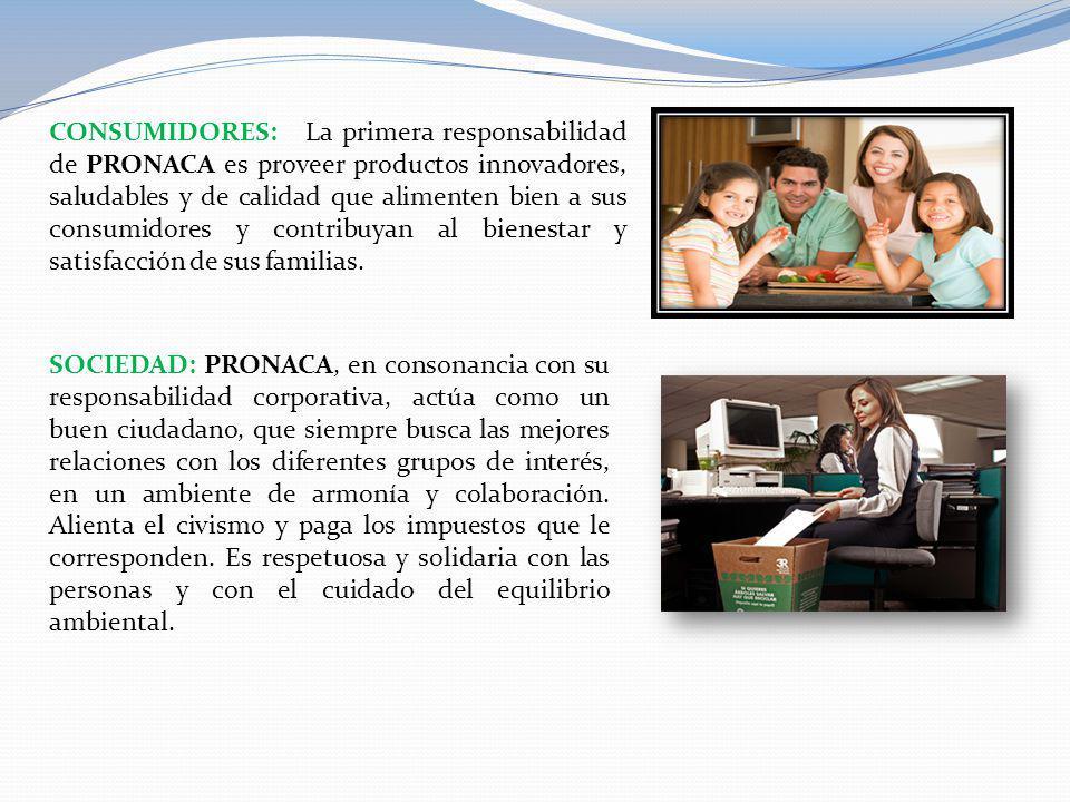 CONSUMIDORES: La primera responsabilidad de PRONACA es proveer productos innovadores, saludables y de calidad que alimenten bien a sus consumidores y
