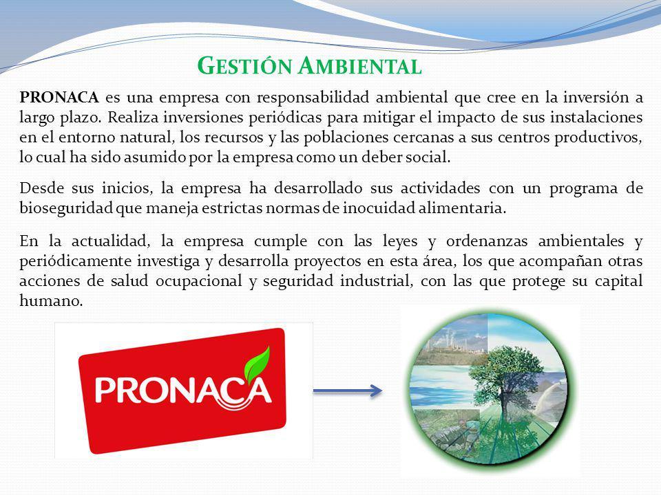 PRONACA es una empresa con responsabilidad ambiental que cree en la inversión a largo plazo. Realiza inversiones periódicas para mitigar el impacto de