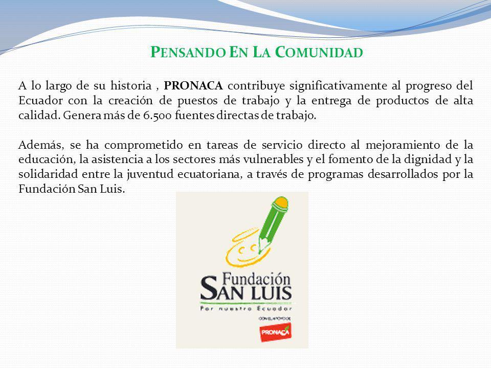P ENSANDO E N L A C OMUNIDAD A lo largo de su historia, PRONACA contribuye significativamente al progreso del Ecuador con la creación de puestos de tr