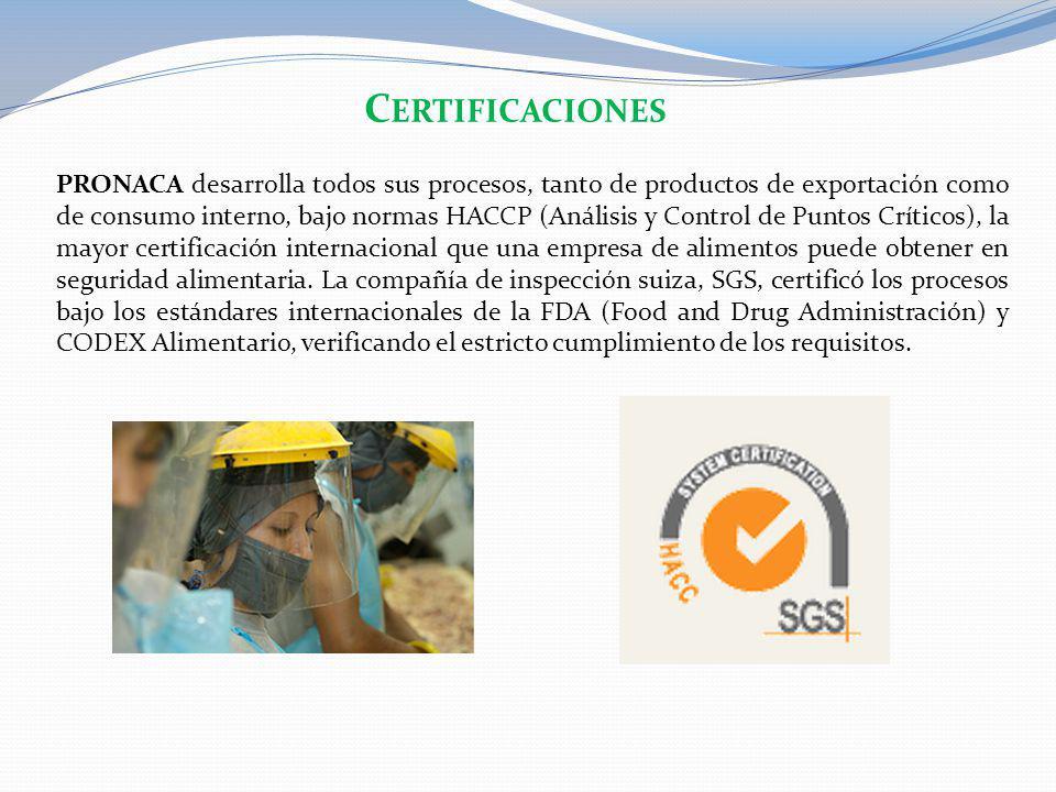 PRONACA desarrolla todos sus procesos, tanto de productos de exportación como de consumo interno, bajo normas HACCP (Análisis y Control de Puntos Crít