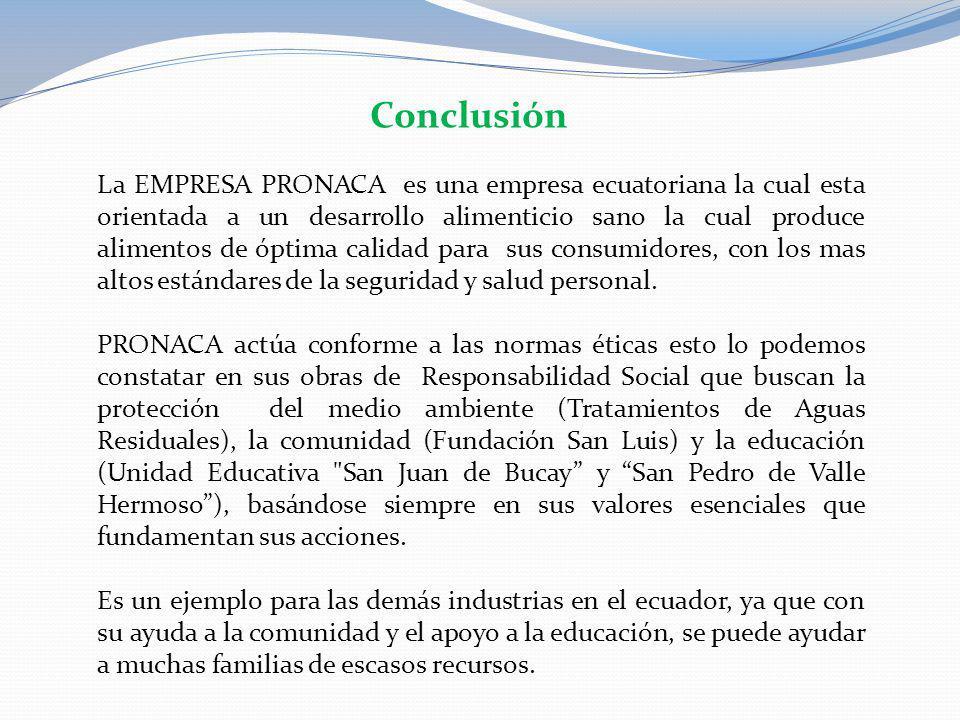 La EMPRESA PRONACA es una empresa ecuatoriana la cual esta orientada a un desarrollo alimenticio sano la cual produce alimentos de óptima calidad para