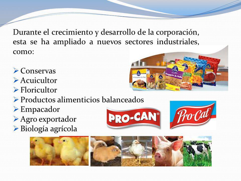 Durante el crecimiento y desarrollo de la corporación, esta se ha ampliado a nuevos sectores industriales, como: Conservas Acuicultor Floricultor Prod