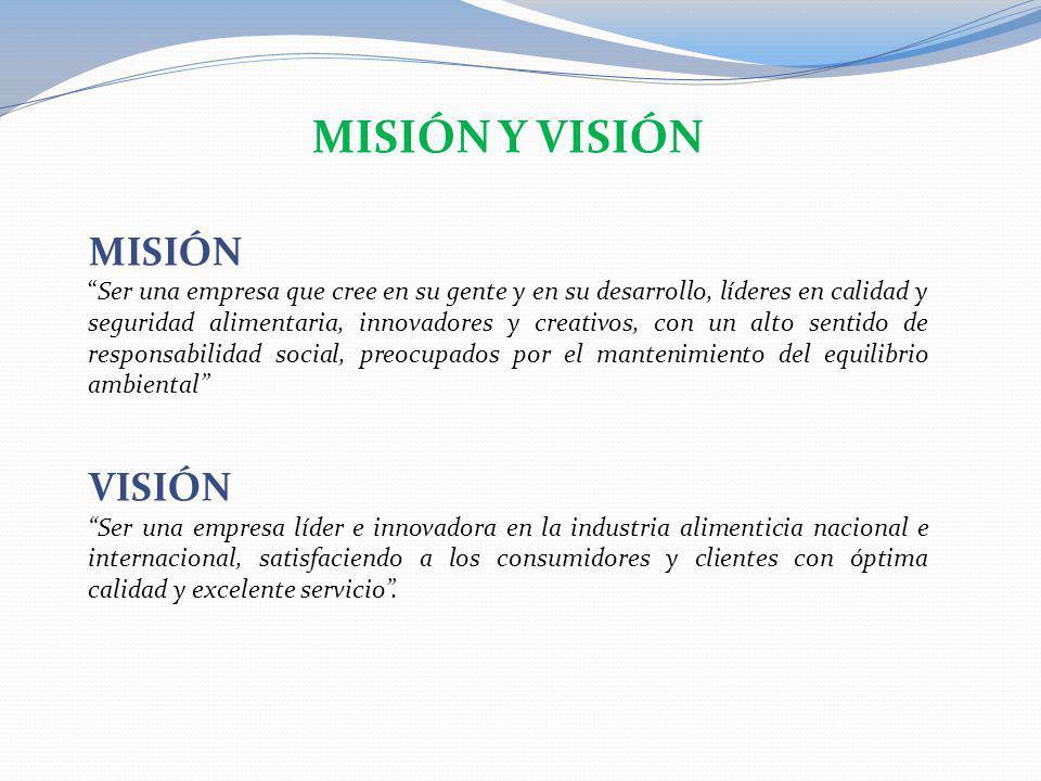 MISIÓN Y VISIÓN MISIÓN Ser una empresa que cree en su gente y en su desarrollo, líderes en calidad y seguridad alimentaria, innovadores y creativos, c