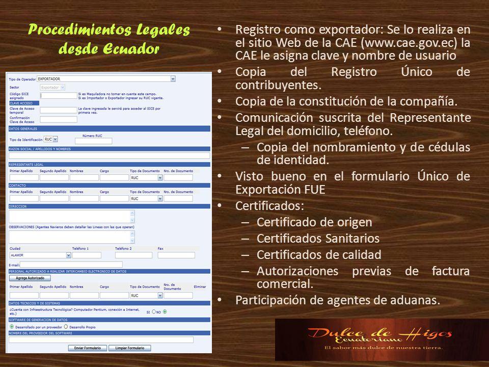 Procedimientos Legales desde Ecuador Registro como exportador: Se lo realiza en el sitio Web de la CAE (www.cae.gov.ec) la CAE le asigna clave y nombr
