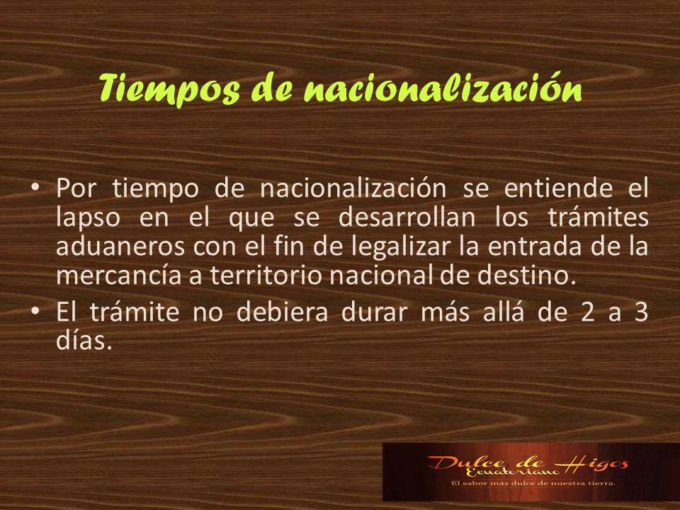Tiempos de nacionalización Por tiempo de nacionalización se entiende el lapso en el que se desarrollan los trámites aduaneros con el fin de legalizar