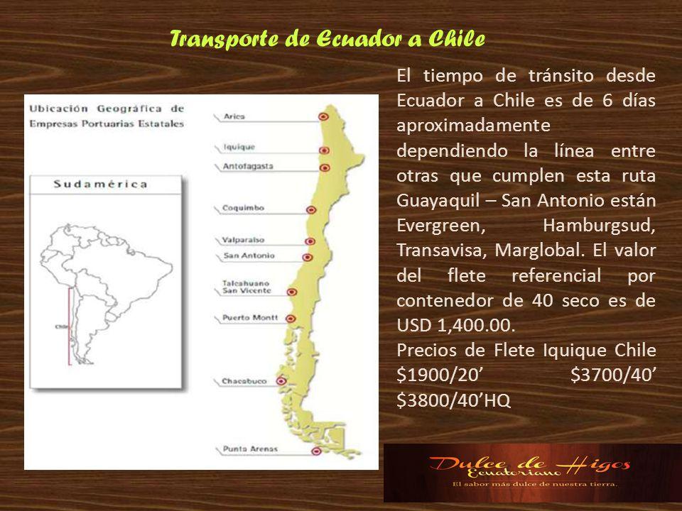 El tiempo de tránsito desde Ecuador a Chile es de 6 días aproximadamente dependiendo la línea entre otras que cumplen esta ruta Guayaquil – San Antoni