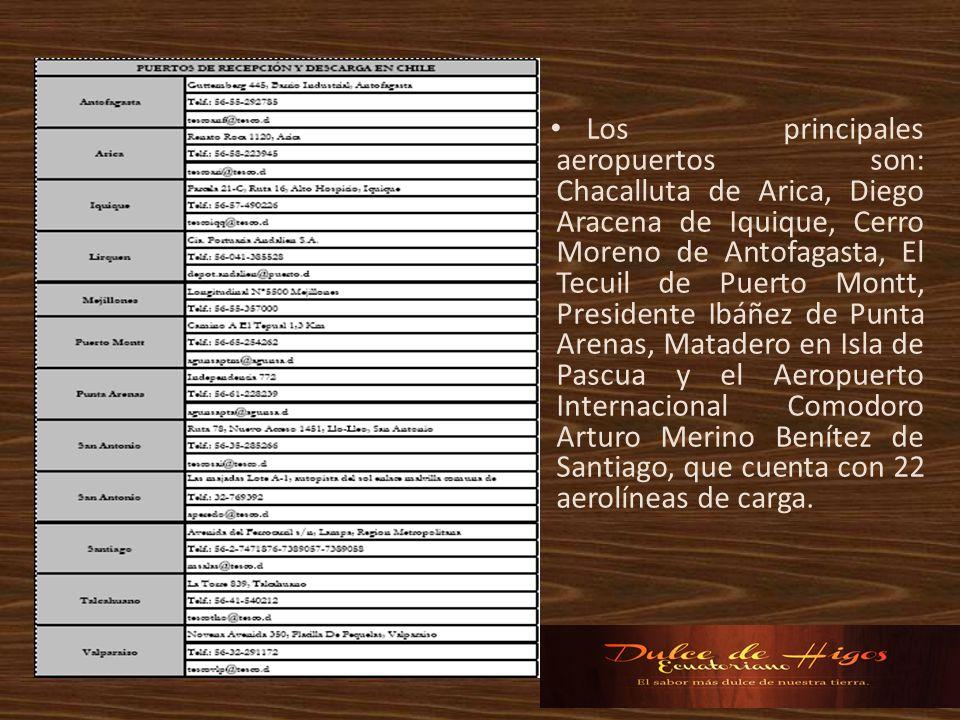 Los principales aeropuertos son: Chacalluta de Arica, Diego Aracena de Iquique, Cerro Moreno de Antofagasta, El Tecuil de Puerto Montt, Presidente Ibá