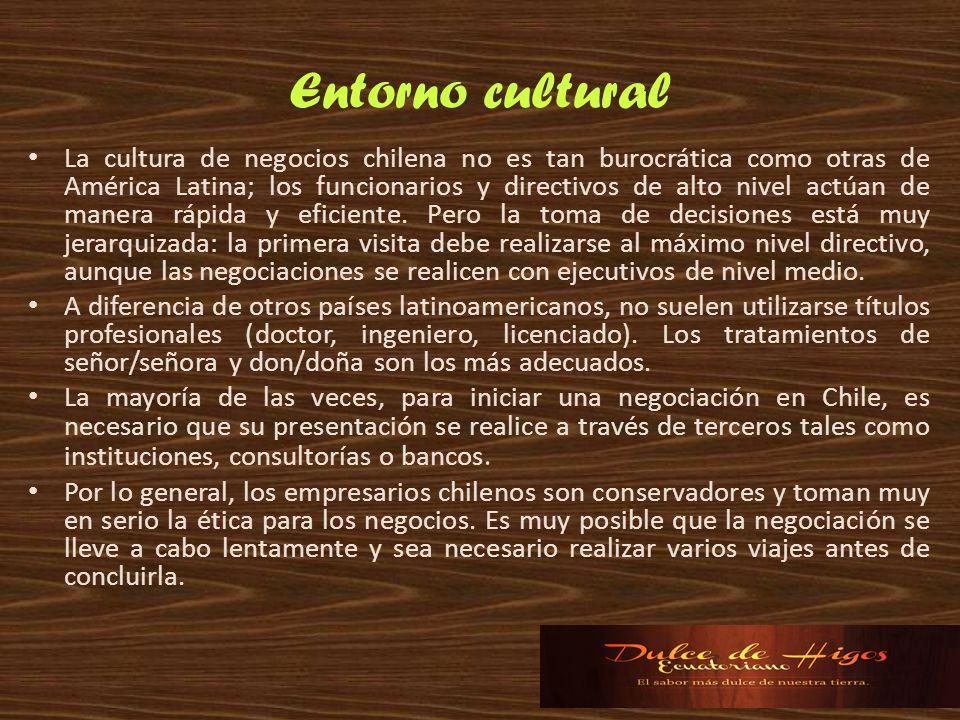 Entorno cultural La cultura de negocios chilena no es tan burocrática como otras de América Latina; los funcionarios y directivos de alto nivel actúan
