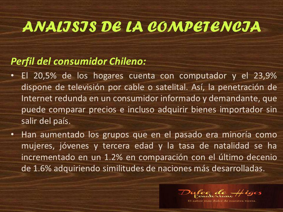 ANALISIS DE LA COMPETENCIA Perfil del consumidor Chileno: El 20,5% de los hogares cuenta con computador y el 23,9% dispone de televisión por cable o s