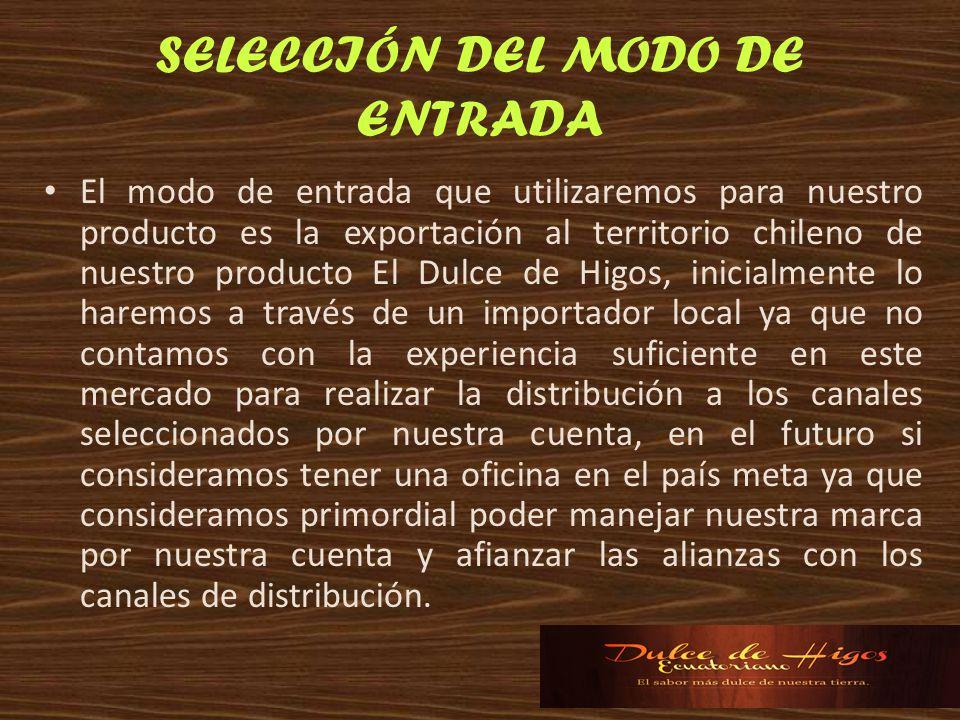 SELECCIÓN DEL MODO DE ENTRADA El modo de entrada que utilizaremos para nuestro producto es la exportación al territorio chileno de nuestro producto El