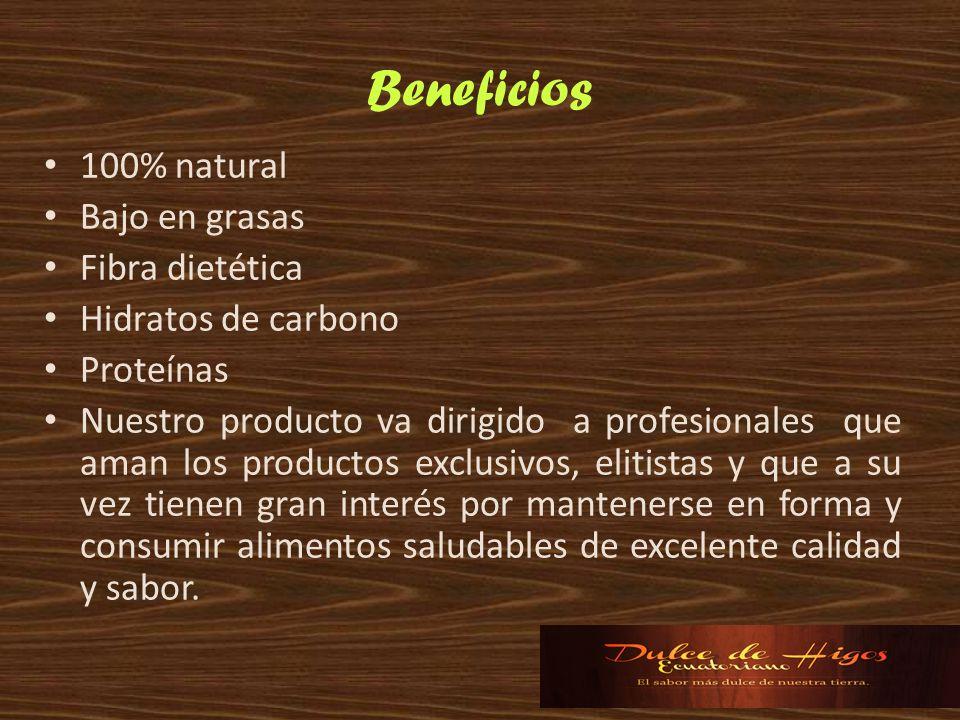 Beneficios 100% natural Bajo en grasas Fibra dietética Hidratos de carbono Proteínas Nuestro producto va dirigido a profesionales que aman los product