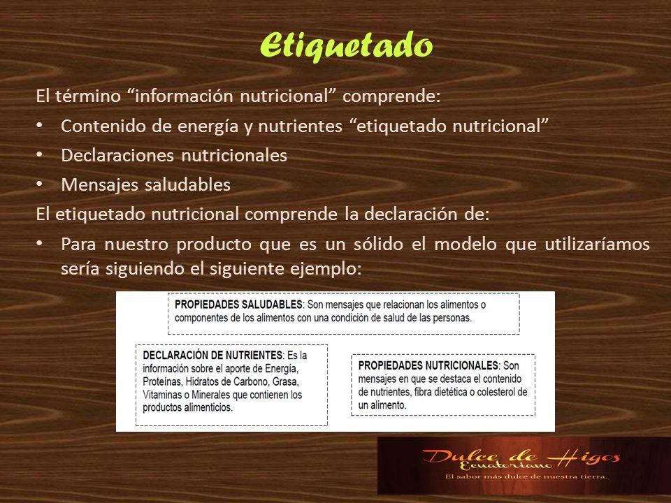 Etiquetado El término información nutricional comprende: Contenido de energía y nutrientes etiquetado nutricional Declaraciones nutricionales Mensajes
