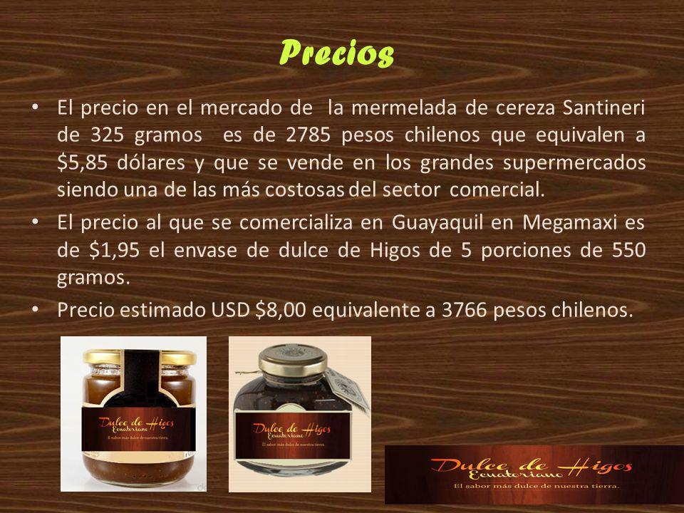 El precio en el mercado de la mermelada de cereza Santineri de 325 gramos es de 2785 pesos chilenos que equivalen a $5,85 dólares y que se vende en lo