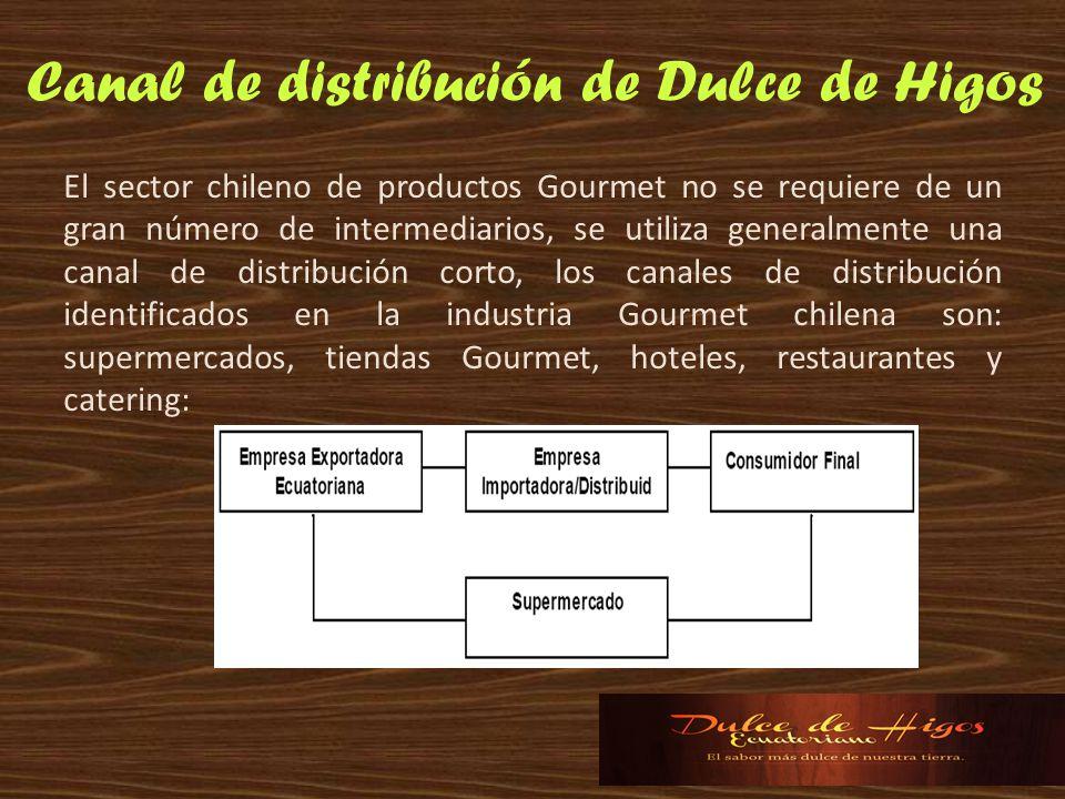 El sector chileno de productos Gourmet no se requiere de un gran número de intermediarios, se utiliza generalmente una canal de distribución corto, lo