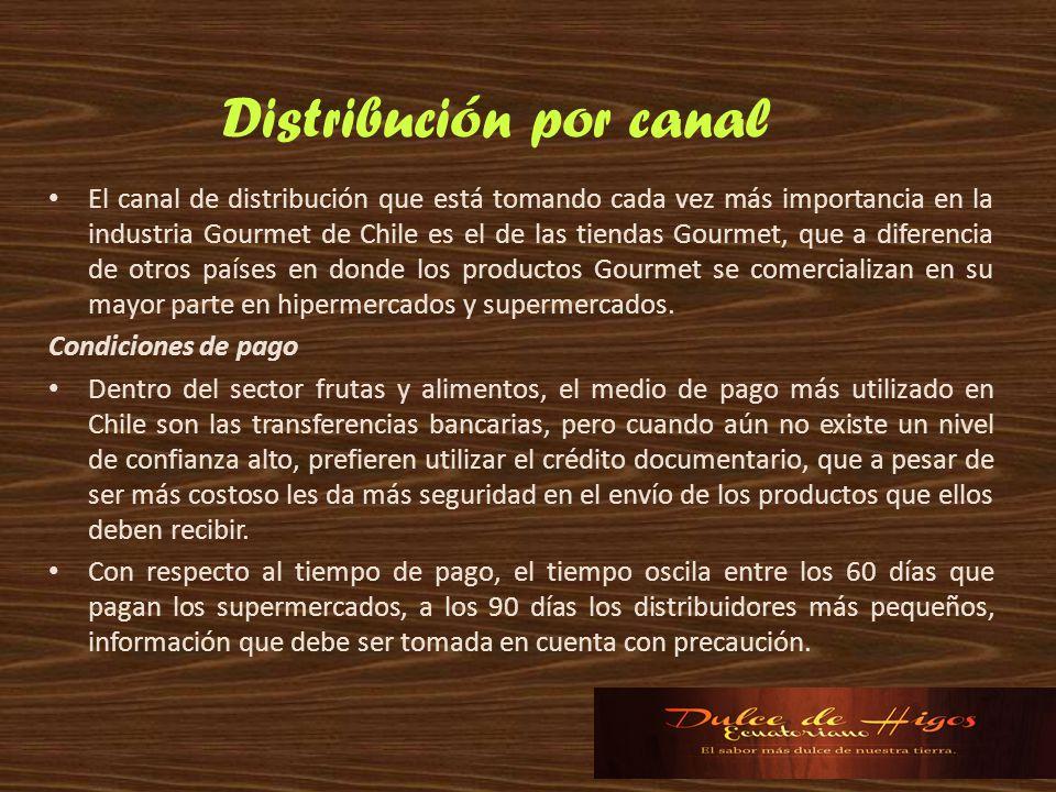 El canal de distribución que está tomando cada vez más importancia en la industria Gourmet de Chile es el de las tiendas Gourmet, que a diferencia de