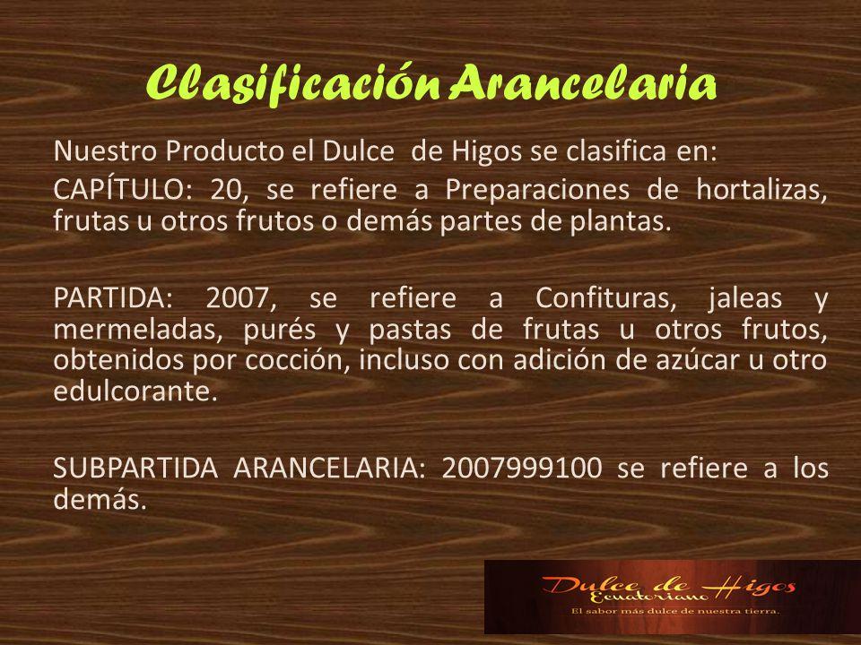Clasificación Arancelaria Nuestro Producto el Dulce de Higos se clasifica en: CAPÍTULO: 20, se refiere a Preparaciones de hortalizas, frutas u otros f