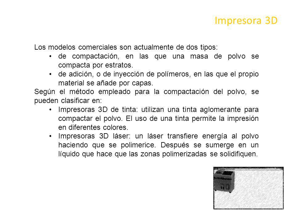 Impresora 3D Los modelos comerciales son actualmente de dos tipos: de compactación, en las que una masa de polvo se compacta por estratos. de adición,