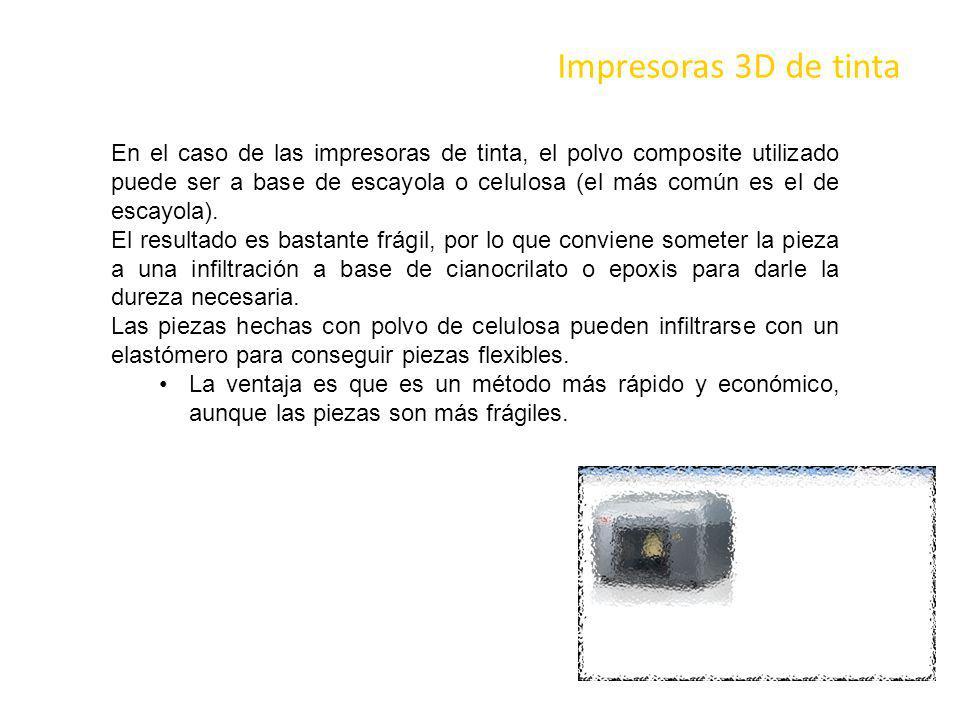 Impresoras 3D de tinta En el caso de las impresoras de tinta, el polvo composite utilizado puede ser a base de escayola o celulosa (el más común es el