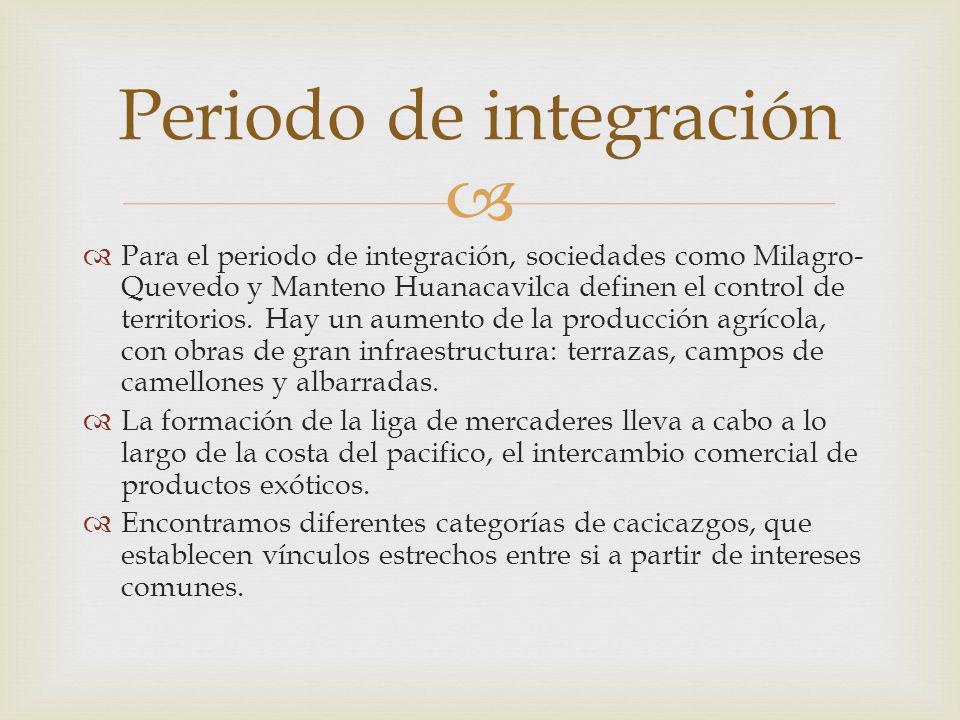Para el periodo de integración, sociedades como Milagro- Quevedo y Manteno Huanacavilca definen el control de territorios.