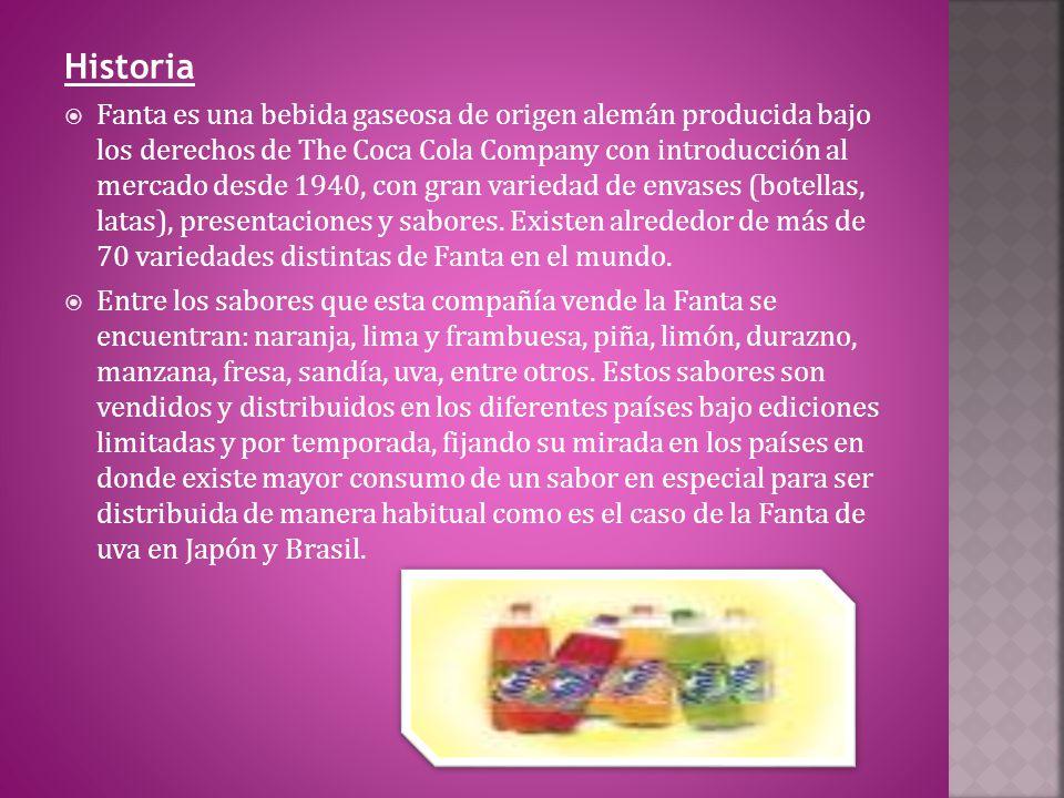 Historia Fanta es una bebida gaseosa de origen alemán producida bajo los derechos de The Coca Cola Company con introducción al mercado desde 1940, con gran variedad de envases (botellas, latas), presentaciones y sabores.