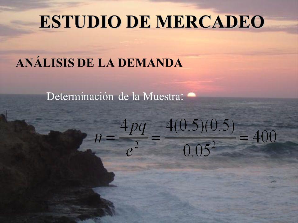 ANÁLISIS DE LA DEMANDA Determinación de la Muestra : ESTUDIO DE MERCADEO