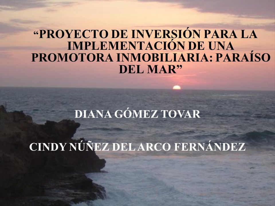 PROYECTO DE INVERSIÓN PARA LA IMPLEMENTACIÓN DE UNA PROMOTORA INMOBILIARIA: PARAÍSO DEL MAR DIANA GÓMEZ TOVAR CINDY NÚÑEZ DEL ARCO FERNÁNDEZ