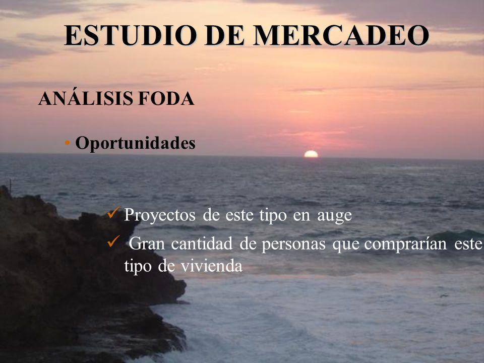 Proyectos de este tipo en auge Gran cantidad de personas que comprarían este tipo de vivienda ESTUDIO DE MERCADEO ANÁLISIS FODA Oportunidades