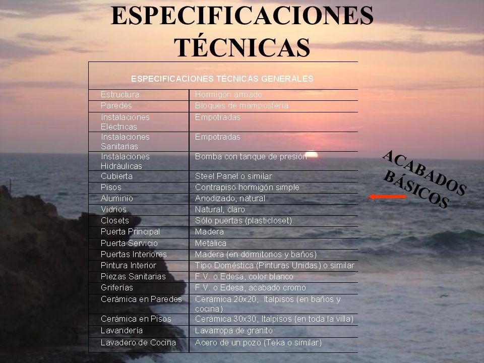 ESPECIFICACIONES TÉCNICAS ACABADOS BÁSICOS