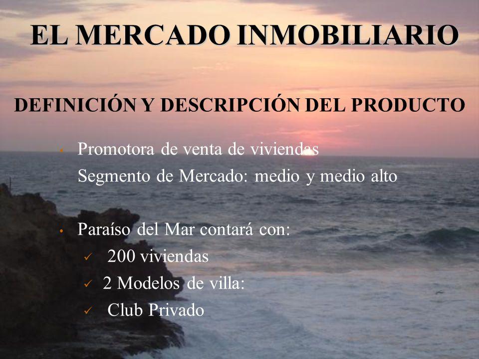 DEFINICIÓN Y DESCRIPCIÓN DEL PRODUCTO Promotora de venta de viviendas Segmento de Mercado: medio y medio alto Paraíso del Mar contará con: 200 viviend