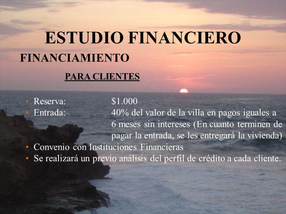 ESTUDIO FINANCIERO FINANCIAMIENTO PARA CLIENTES Reserva:$1.000 Entrada:40% del valor de la villa en pagos iguales a 6 meses sin intereses (En cuanto t