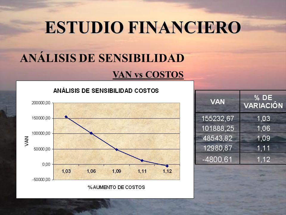 ANÁLISIS DE SENSIBILIDAD ESTUDIO FINANCIERO VAN vs COSTOS