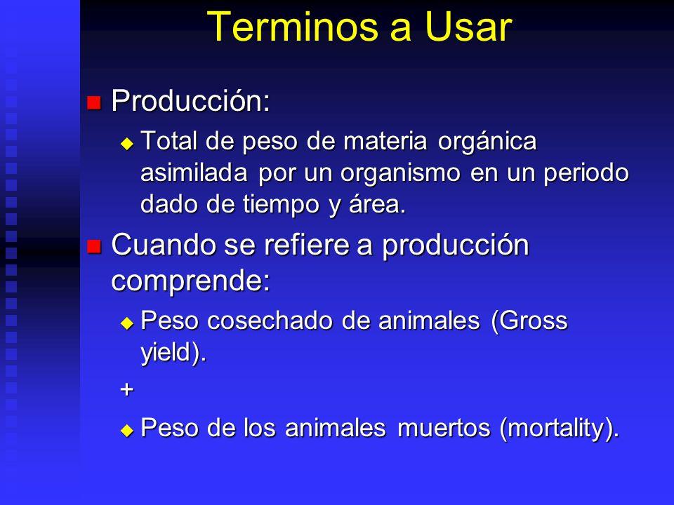 Terminos a Usar Producción: Producción: Total de peso de materia orgánica asimilada por un organismo en un periodo dado de tiempo y área. Total de pes