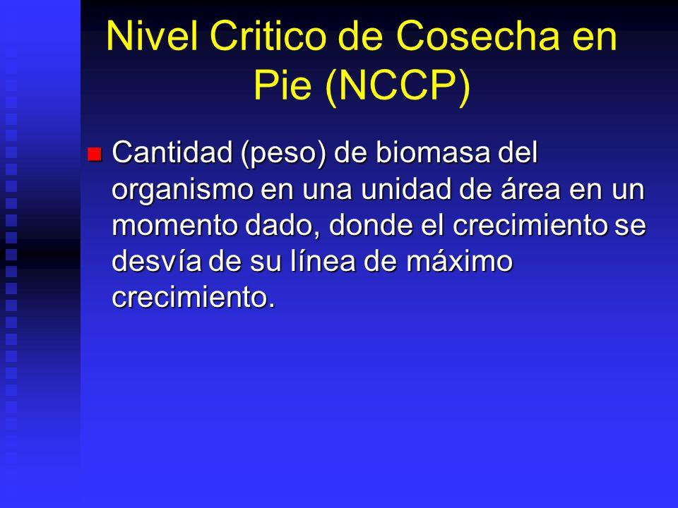Nivel Critico de Cosecha en Pie (NCCP) Cantidad (peso) de biomasa del organismo en una unidad de área en un momento dado, donde el crecimiento se desv